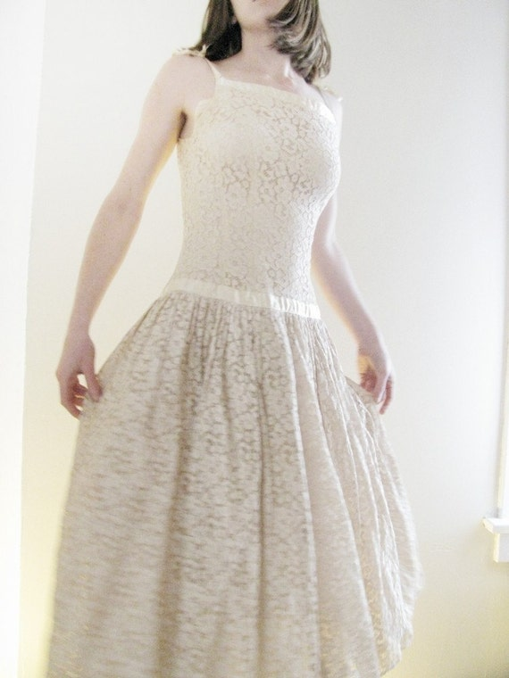 Vintage 50s Tea Length Eyelet Lace and Tulle Party Dress S On SALE