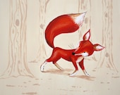 Red Fox Forest PRINT, baby and kids art, room decor, fox red forest trees
