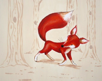 Red Fox Forest Large PRINT, baby and kids art, room decor, fox red forest trees