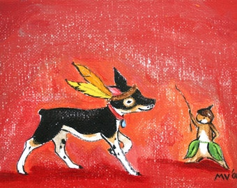 A Cowboy and Indian - PRINT, woodland animals, dog, indian, aztec, feather, squirrel