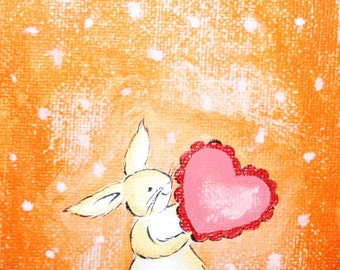 Valentine print, Look at My Big Heart - PRINT, heart print, bunny print