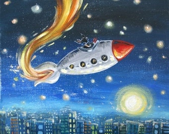 Rocket City - PRINT 12x12, space, stars, moon, rocket