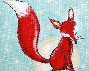 Bright Night Red Fox -PRINT 7x10""