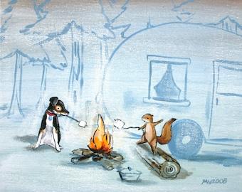 "Camp Marshmallow - PRINT 12x15"", camping print, smores, campfire"