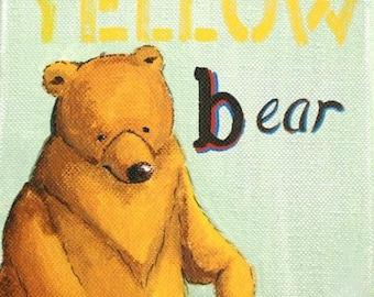 Bear art, Yellow Bear- PRINT woodland animals, art for kids