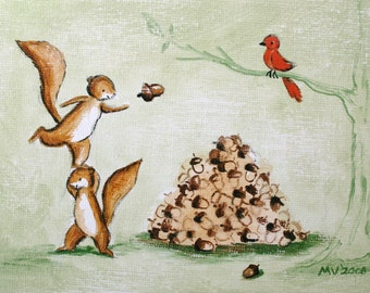 The Giant Feast-PRINT , art for kids, baby and kids art, nuts, squirrels