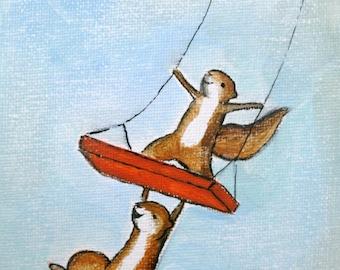 Love to Swing - woodland animals, squirrels, tree swing PRINT, large print 11x14