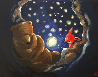"""Star Night Moon Bright - PRINT 11x13"""""""