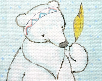 """Poncho and the Magic Feather- Print 12x16"""" large print, bear, feather, yellow, indian, chevron"""