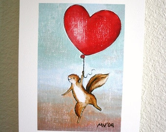 Valentine print, Never Let Go PRINT baby and Kids Nursery Decor, Valentines Day, hearts and love, squirrel, heart, balloon