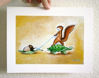 "The Treasure Nut- PRINT large 11x13"" turtle print, squirrel print"
