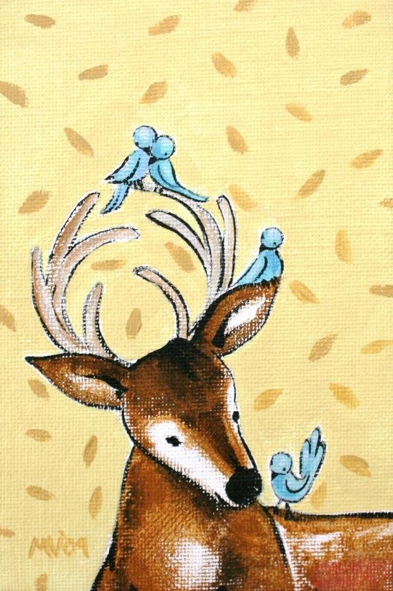 Love Story by Mister Deer PRINT, children's art, fine art print, deer, love, valentines