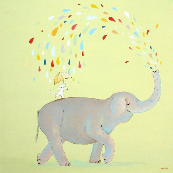 The Raining Mister Elephant -PRINT 8x8""