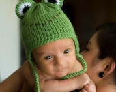 Earflap Frog Hat with Feet