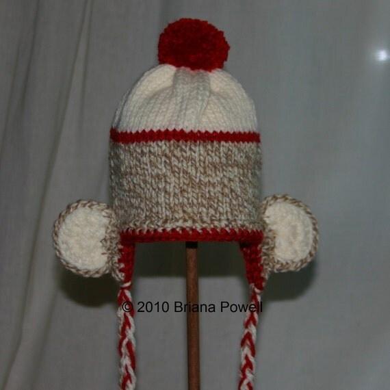Classic Sock Monkey Hat with a Twist (6-12 mos)