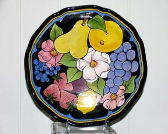 Fruit and Flower Functional Food Safe  Ceramic PLATE Handcrafted on ETSY