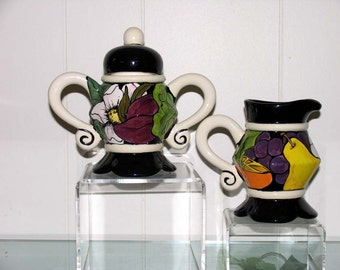 Hand Painted Decorative Ceramic Cream and Sugar Fancy Fruit & Flower Motif on ETSY