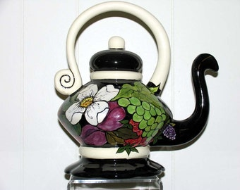 Functional Ceramic TEAPOT Handpainted Fancy Fruit and Flowers on ETSY