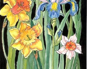 BLUE IRIS & Spring Flowers Decorative Ready to Hang Art Print on Ceramic Tile on Etsy