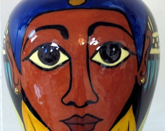 Egyptian Face VASE Unique Small Oval Ceramic Pottery on Etsy