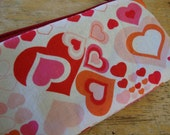 Final Holiday Sale- NEW.fun.STUFF- The SKINNY Zip Pouch Valentine Hearts