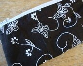 Final Holiday Sale- NEW.fun.STUFF- The SKINNY Zip Pouch Embossed Butterfly