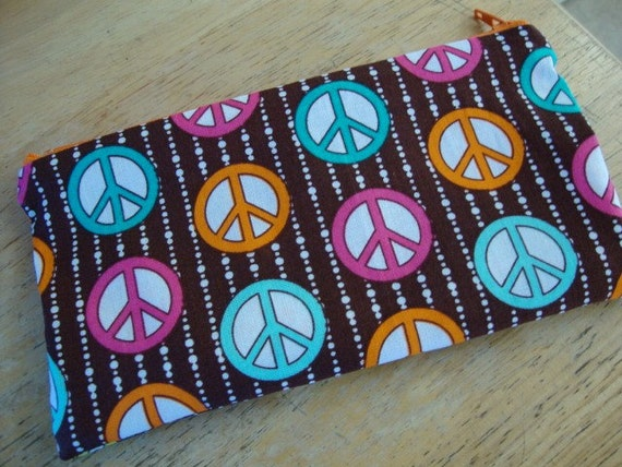Final Holiday Sale-FULL Size-LOW SHIP-Bright Stripes of Peace Signs Zipper Pouch