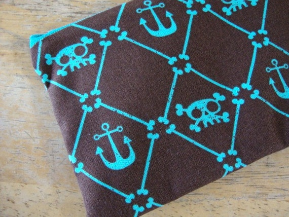 Final Holiday Sale- FULL Size- LOW SHIP -Skulls and Anchors Zipper Pouch