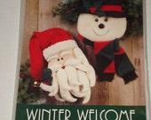Welcome Winter Hanging Santa and Snowman Primitive Folk Art Pattern