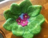 African Violet Needlefelted Beaded  Jewelry Art Bowl