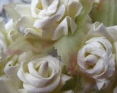12 Dainty Millinery White Paper Roses For Weddings And Crafts