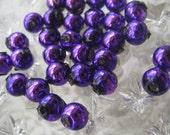 30 Czech Republic Handmade Blown Glass Christmas Garland Beads 8mm Purple