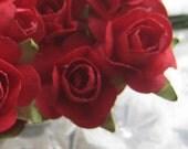 Paper Millinery Flowers 24 Petite Handmade Roses Flowers In Red