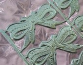 Dresden Bows 10 Little Aqua Foil  Made In Germany