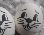 Spun Cotton Easter Bunny Heads 2 Old Fashioned Rabbit Heads Czech Republic  SC 103W