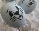 3 Large Spun Cotton Easter Rabbit Heads 3 Blue Czech Republic  SC 102B
