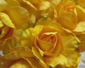 Paper Millinery Flowers 16 Spring Roses In Bright Yellow
