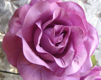 Paper Millinery Flowers 2 Extra Large Roses In Lavender