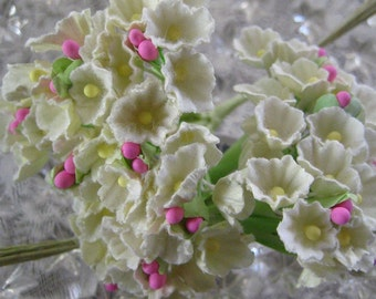 2 Bouquets Forget Me Nots Old Fashioned Millinery Flowers Palest Icey Ivory