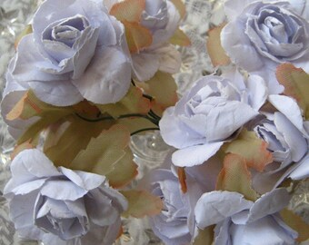 Paper Flowers 12 Millinery Southern Roses In Palest Blue Violet