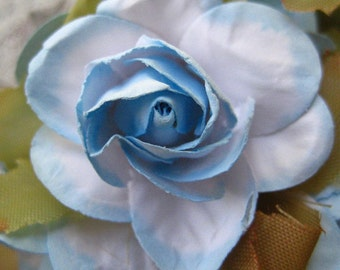 Paper Millinery Flowers 12 Handmade Southern Roses In Light Blue Mix