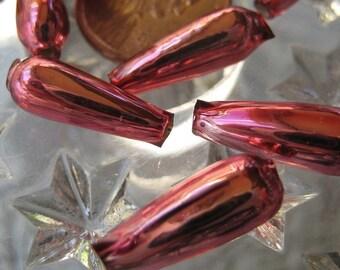 Mercury Glass Beads 10 Pink Christmas Garland Beads Handmade In Czech Republic  002 PK