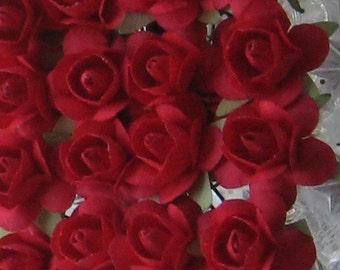 Paper Millinery Flowers 24 Small Handmade Roses In Red