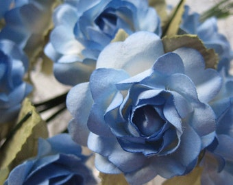 Paper Flowers 12 Open Millinery Roses In Blue Mix