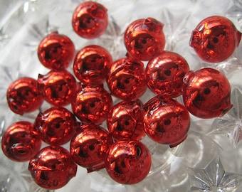 Mercury Glass Beads 15 Czech Republic Handmade Christmas Garland Beads 10mm Red