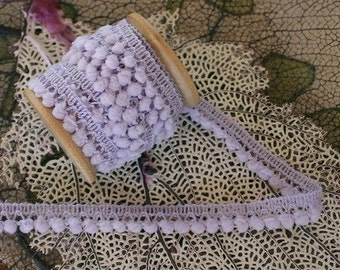 5-5/8 Yards Wholesale Lot Little Pom Pom Fringe In Pale Lilac Purple