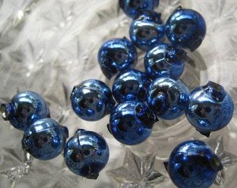 Mercury Glass Beads 15 Czech Republic Christmas Garland Beads 10mm Blue