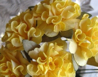 Paper Millinery Flowers 12 Ruffled Pom Pom Blossoms In Sunshine Yellow