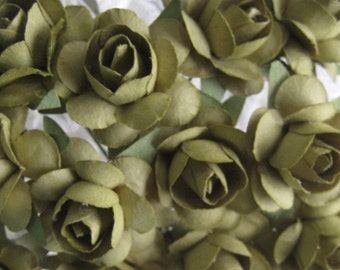Paper Millinery Flowers 24 Small Handmade Roses In Olive Green