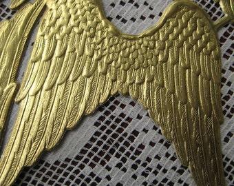 Dresden Angel Wings Made In Germany 4 Large Gold Embossed Die Cut Paper